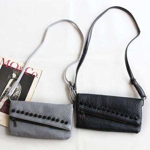 Autumn Rinsed Denim Zippers Bags Rivet Simple Design One Shoulder Phone [4915790340]