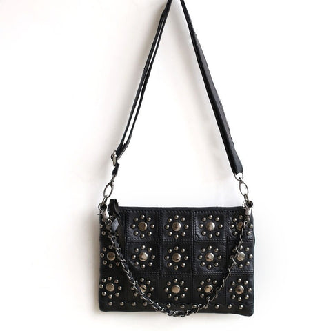 Leather One Shoulder Korean Stylish Plaid Rivet Bags [4915813764]