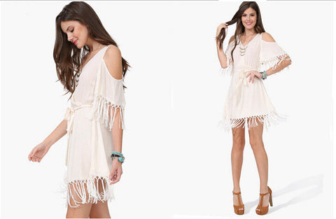 Bohemia V-neck Tassels Strapless One Piece Dress [4915010052]