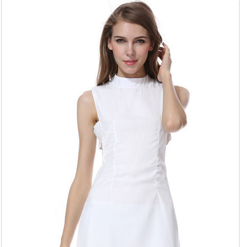 Simple Design Hollow Out White Sleeveless One Piece Dress [4915017156]