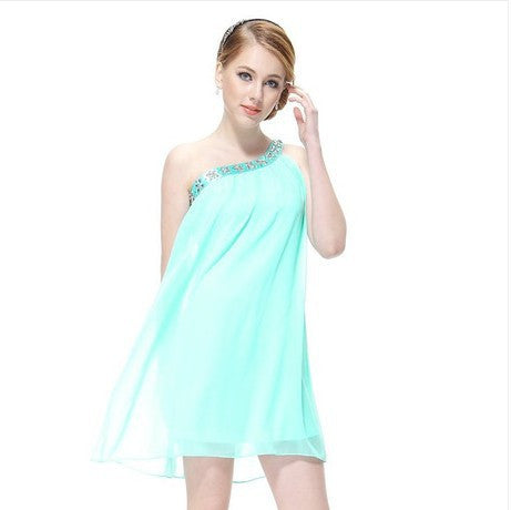 Sexy Star Chiffon One Shoulder Diamonds Sleeveless One Piece Dress [4915022788]