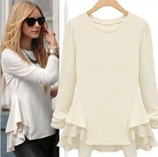 Autumn Chiffon Mosaic Long Sleeve T-shirts Women's Fashion Bottoming Shirt [4918037892]