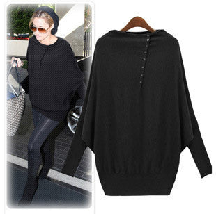 Autumn Plus Size T-shirts Long Sleeve Batwing Sleeve Women's Fashion Bottoming Shirt [4918036612]