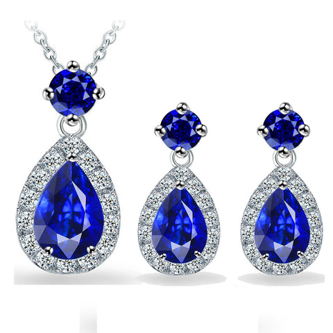 Accessory Simple Design Stylish Crystal Pendant Earrings Jewelry Set [4918361476]