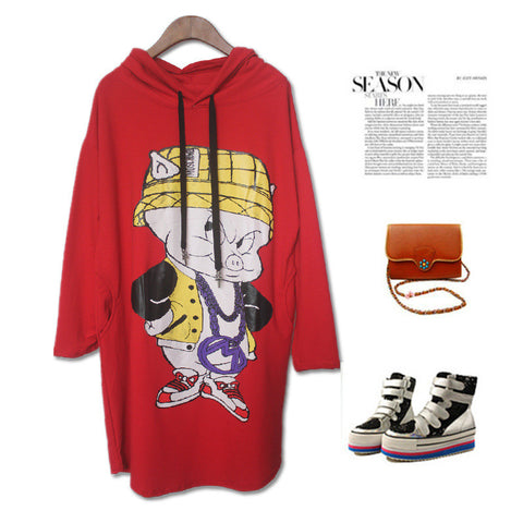 Plus Size Hats Cartoons Print T-shirts Casual Long Sleeve One Piece Dress [4918278468]
