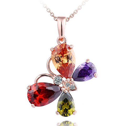 Accessory Crystal Butterfly Water Droplets Gemstone Pendant [4918361348]