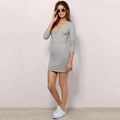 Autumn Long Sleeve Winter Deep V Slim Dress Women's Fashion One Piece Dress [4966222276]
