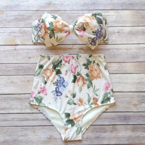 Hot Swimsuit Sexy New Arrival Summer Beach Floral Print Swimwear High Rise Butterfly Bra Bikini [4914739140]