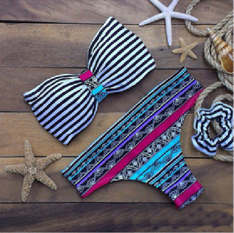 Summer Hot New Arrival Swimsuit Stripes Bra Print Swimwear Beach Casual Sexy Bottom & Top Bikini [4914746692]