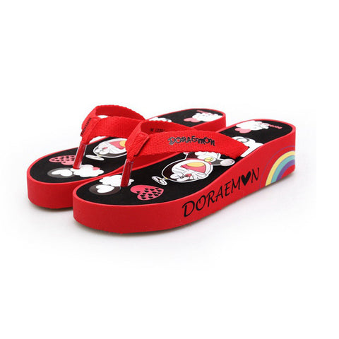 Anti-skid Beach Shoes Wedge Sandals Print Home Cartoons Slippers [4918336708]