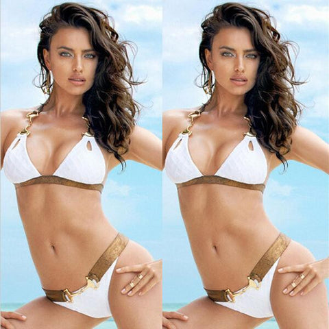 Summer Beach Swimsuit Hot Sexy New Arrival Hollow Out Ladies White Swimwear Stylish Bikini [4914747460]