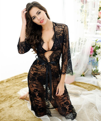 Lace Gowns Sexy Ladies Home Plus Size Sleepwear [4918217476]