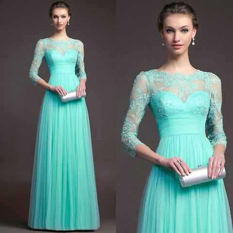 7dfdad06f7b ... Long Sleeve Lace Mosaic Hollow Out Prom Dress Ball Gown One Piece   4918232580  ...