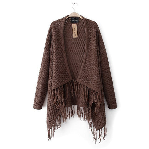 Winter Stylish Handcrafts Tassels Hollow Out Cardigan Sweater [6331859780]