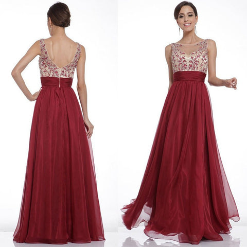 Hot Sale Embroidery Shaped Sexy Backless Prom Dress One Piece Dress [4918232132]