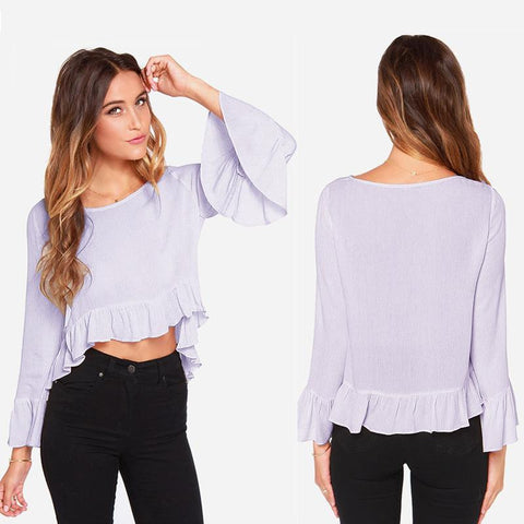 Long Sleeve Chiffon Tops Autumn Ruffle Sexy Crop Top Loudspeaker [4966229316]