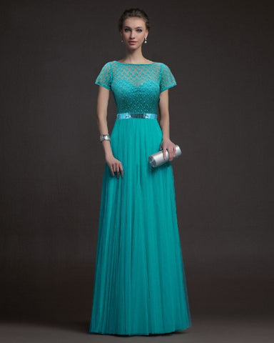 6a12f1923ce Short Sleeve Lace Mosaic Hollow Out Prom Dress Ball Gown One Piece Dress   4918233988