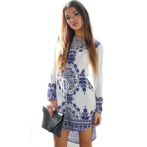 Autumn Bohemia Print Long Sleeve Women's Fashion Skirt One Piece Dress [4966237060]