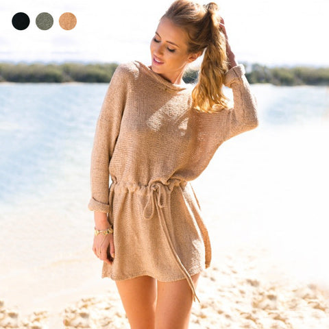 Long Sleeve Shaped Knit Winter Skirt One Piece Dress [6281599300]