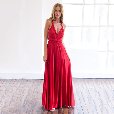 Autumn Women's Fashion Sexy Red Sleeveless Prom Dress Dress One Piece Dress [4966221956]