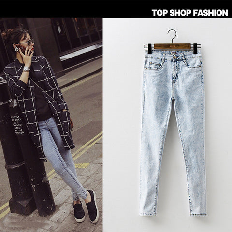 Korean Autumn Denim Stylish Slim High Waist Pen Pencil Pants Skinny Pants [6365915972]