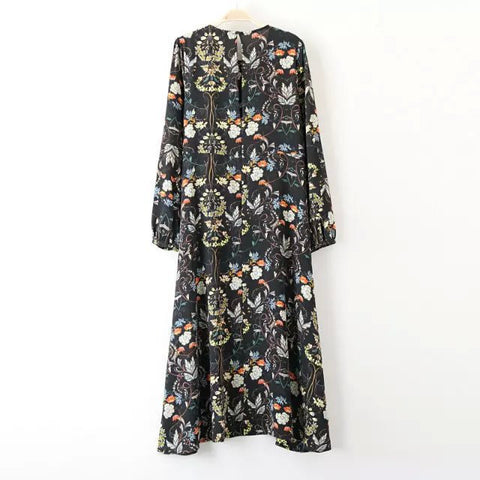Autumn Women's Fashion Floral Print High Rise Slim Dress One Piece Dress [4917801988]