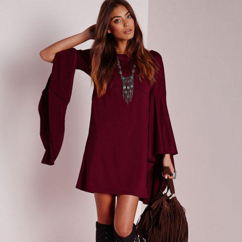 Long Sleeve Knit Pullover One Piece Dress [6281618052]