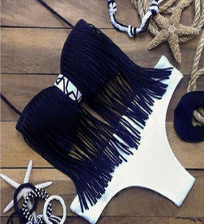 Beach Swimsuit New Arrival Hot Summer Sexy Spaghetti Strap Hot Sale Blue Tassels Swimwear Bikini [4914740164]