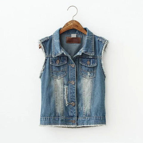 Autumn Korean Rinsed Denim Ripped Holes Denim Vest Tops Jacket [5013305348]