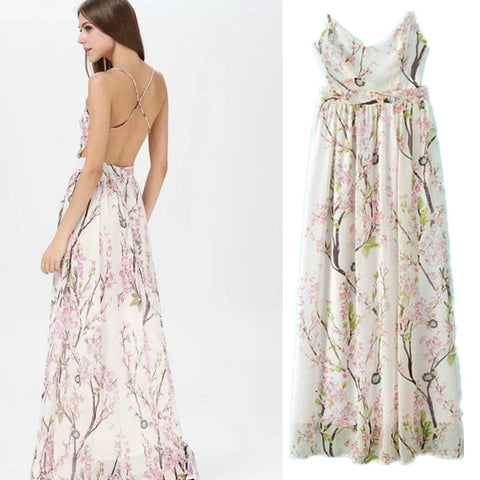Summer Spaghetti Strap Print Slim Sexy Backless Prom Dress Maxi Dress One Piece Dress [5013138372]