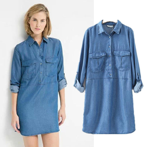 Women's Fashion With Pocket Casual Long Sleeve Denim Shirt Tops One Piece Dress [5013130692]