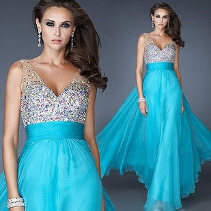 Stylish Mosaic V-neck Sexy Ball Gown Prom Dress One Piece Dress [4918232260]