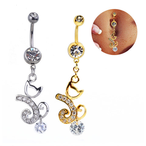 Cats Navel Rings Thicken Golden Pendant [4915099460]