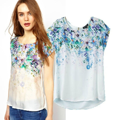 Summer Women's Fashion Vintage Gradient Print Patchwork Short Sleeve Chiffon Tops T-shirts [5013371972]