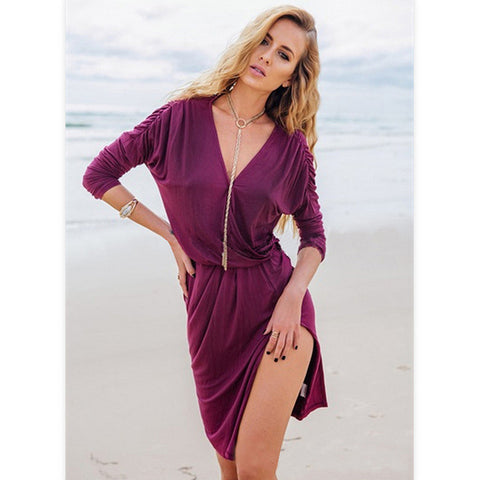 Sexy Deep V Long Sleeve Corset Split One Piece Dress [6338691460]