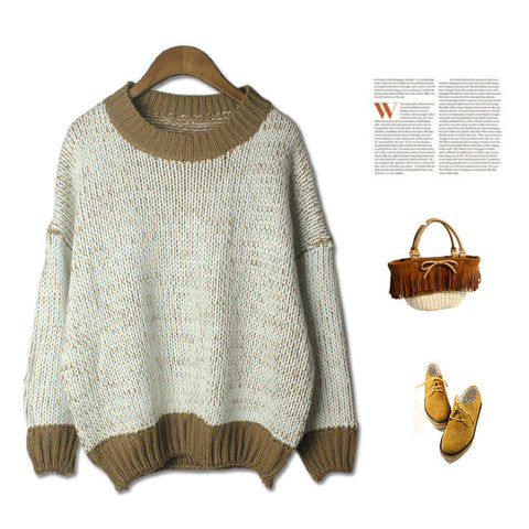Casual Thicken Batwing Sleeve Sweater Blouse [4918278660]