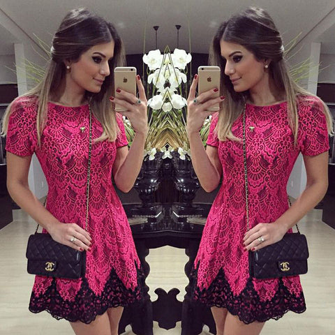 Women's Fashion Summer Red Lace High Rise Short Sleeve One Piece Dress [6281473220]