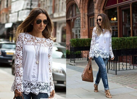 Autumn Long Sleeve Hollow Out Floral Lace Chiffon Tops Shirt [4966029828]
