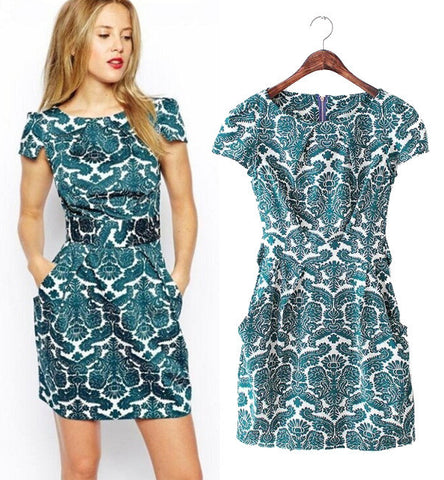 Women's Fashion Palace Print Vintage Short Sleeve Slim Dress One Piece Dress [5013253380]