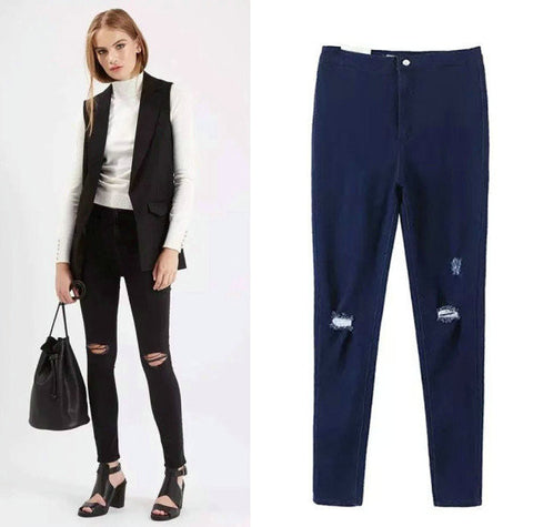 Classics High Rise Ripped Holes Stretch Slim Pencil Pants Jeans [4918732740]