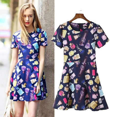 Women's Fashion Stylish Lovely Fragrance Print Slim Short Sleeve One Piece Dress [5013269316]