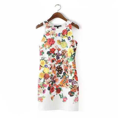 Women's Fashion Floral Print Sleeveless Vest One Piece Dress [5013421252]