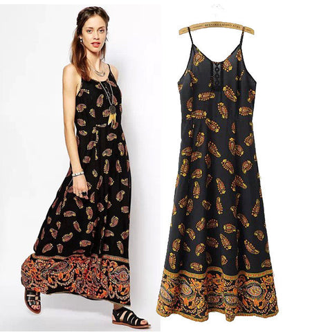 Stylish Print Spaghetti Strap Cotton Slim Prom Dress Women's Fashion Maxi Dress [5013218052]