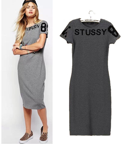 Stylish Round-neck Short Sleeve Flocking Alphabet Cotton Casual Dress One Piece Dress [5013384452]
