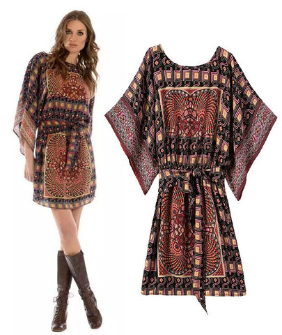 Women's Fashion Stylish Vintage Print Shaped Batwing Sleeve One Piece Dress [5013131204]