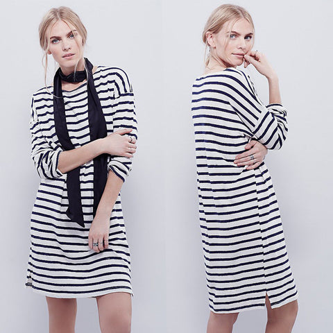 Stripes Round-neck Knit One Piece Dress [6338697412]