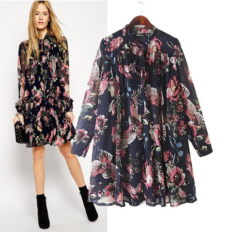 Stylish Chiffon Print Women's Fashion Skirt Dolls Tops One Piece Dress [5013138884]