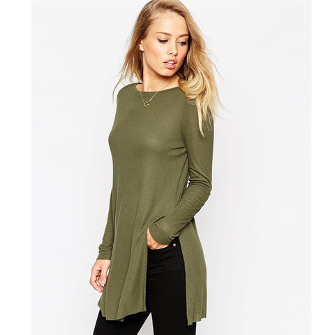 Side Slits Long Sleeve Round-neck Pullover T-shirts [6338697156]