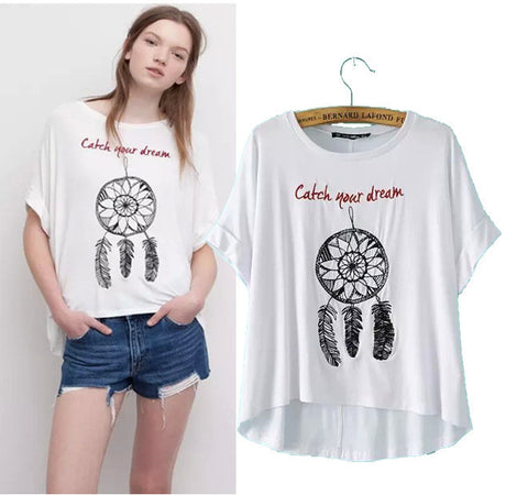 Stylish Round-neck Short Sleeve Alphabet Feather Embroidery Women's Fashion Tops T-shirts [5013414468]