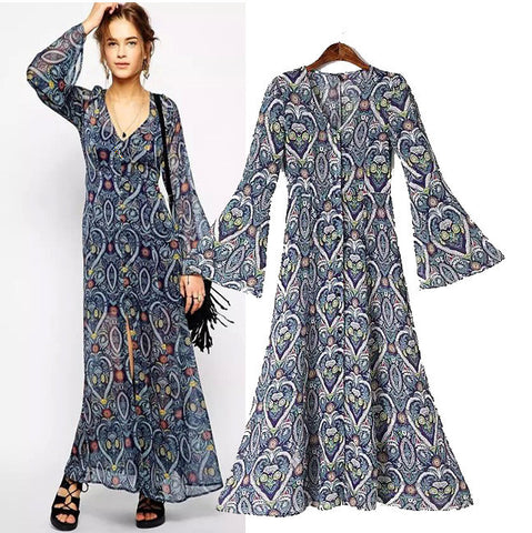 Stylish V-neck Loudspeaker Long Sleeve Heart Print Slim Chiffon Prom Dress Women's Fashion One Piece [5013147460]